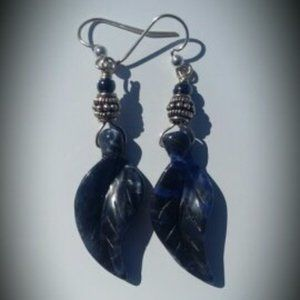 Blue Sodalite Carved Leaf Earrings Sterling Silver